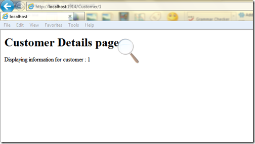 Customer details via URL rewriting in asp.net 4.0
