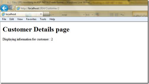Customer two details via URL rewriting in asp.net 4.0