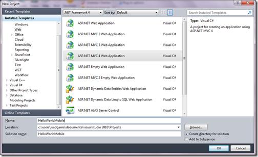 Hello world ASP.NET MVC 4.0 Mobile site-www.dotnetjalps.com