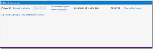 Python Enviroments for Visual Studio