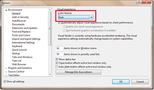 Dark Visual Experience in Visual studio 2012- A new visual studio feature.