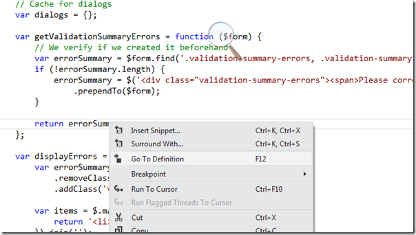 Javascript Goto definition featuers in visual studio 2011 beta features series