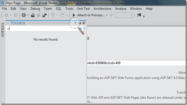 Tool Box in Visual Studio 2011 beta - First review of Visual Studio 2011 beta