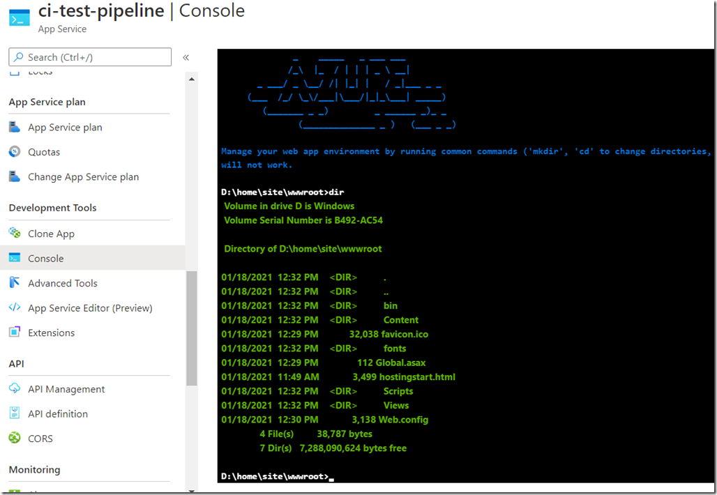 azure portal console after first pipeline run