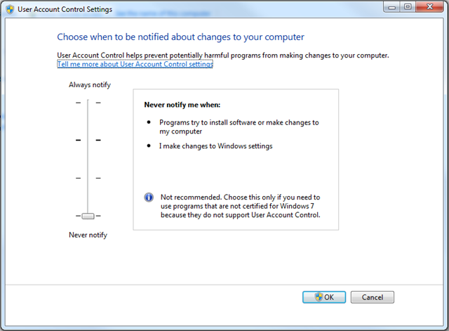 Jeff Widmer's Blog - Windows 7 User Account Control does not