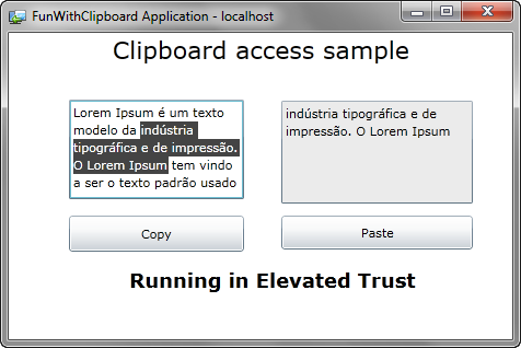 Silverlight clipboard sample