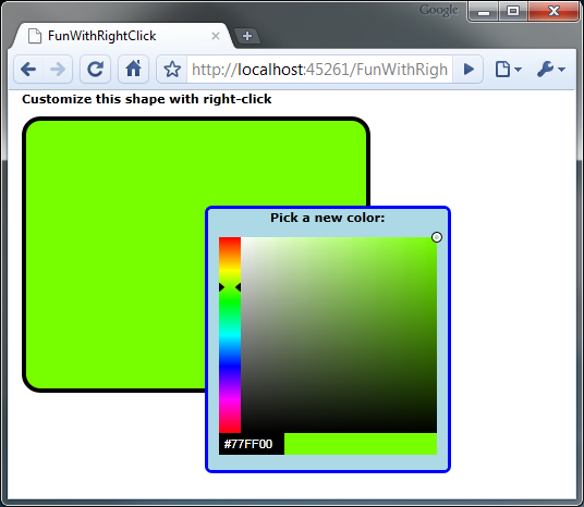 Silverlight 4 right click sample