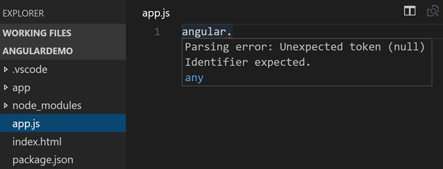 No Angular intellisense out of the box