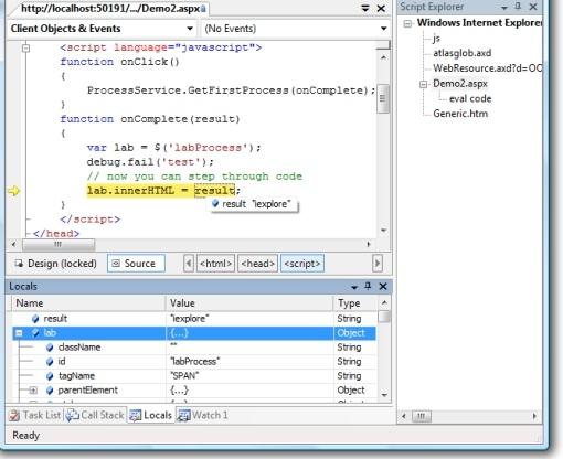 Debugging Js code in VS 2005