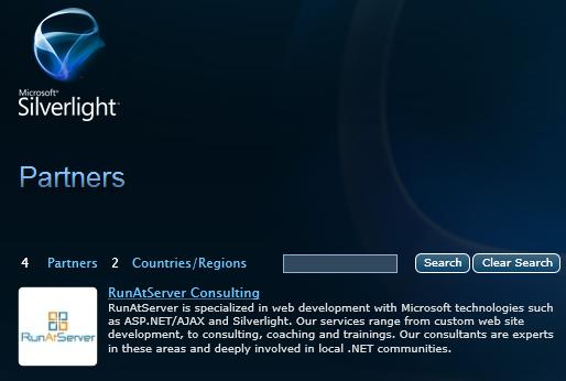RunAtServer Consulting Silverlight Partner