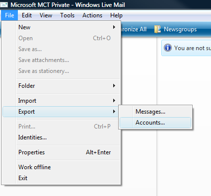 Windows Live Mail accounts importing issue and feedback