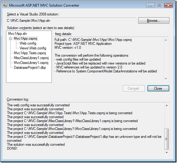 ASP.NET MVC Solution Converter