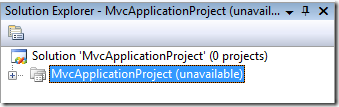 Solution Explorer: Project unavailable