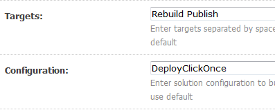 Build ClickOnce deployment packages using MSBuild and Team