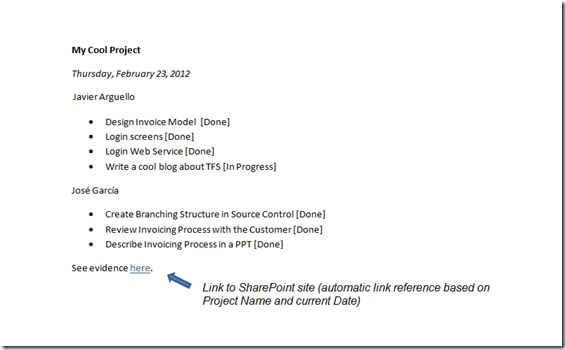 Javier Arguello javarg Scrum Daily Work Evidence in TFS End
