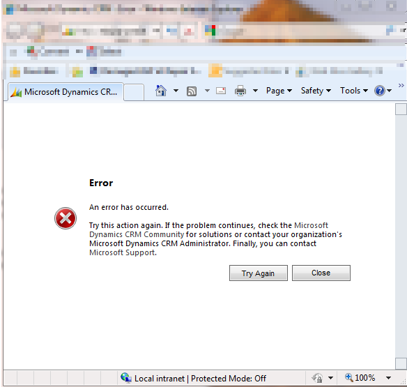 Dynamics CRM COMException: The