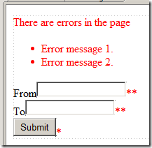Web page with validation