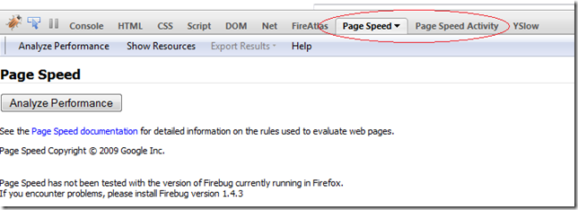 PageSpeed option in Firebug Toolbar