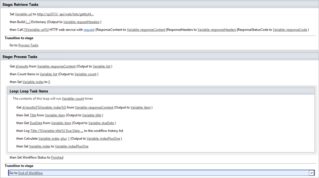Development With A Dot Looping Through List Items In Sharepoint 2013 Designer Workflows