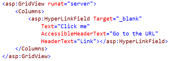 Muestra el código después de configurar un GridView desde el editor de texto