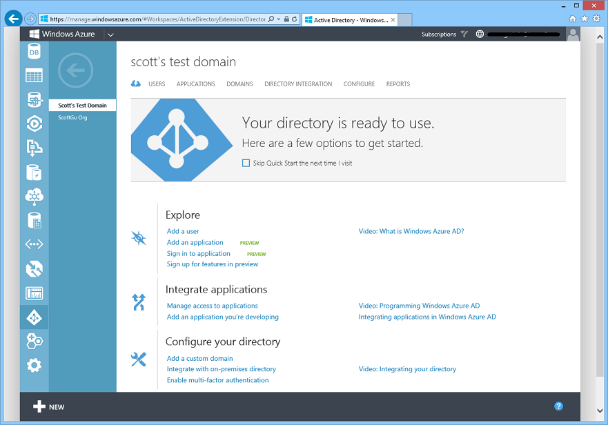 ScottGu's Blog - Windows Azure: New Virtual Machine, Active