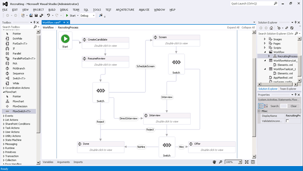 Diseñador Workflow Visual Studio 2012