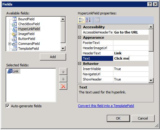 Muestra el diálogo de edición de columnas de un GridView ASP.NET