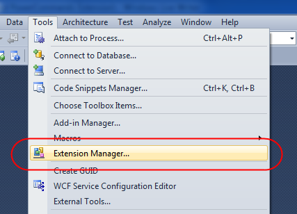 ScottGu's Blog - Visual Studio 2010 Extension Manager (and