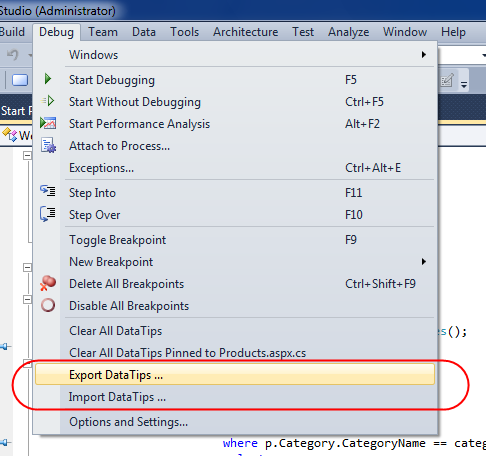 image thumb 00C6D215 See the Value from Last Debug Session   DataTips in Visual Studio 2010