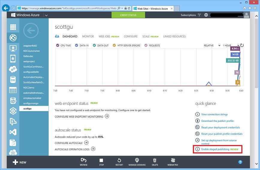 ScottGu's Blog - Windows Azure: Staging Publishing Support