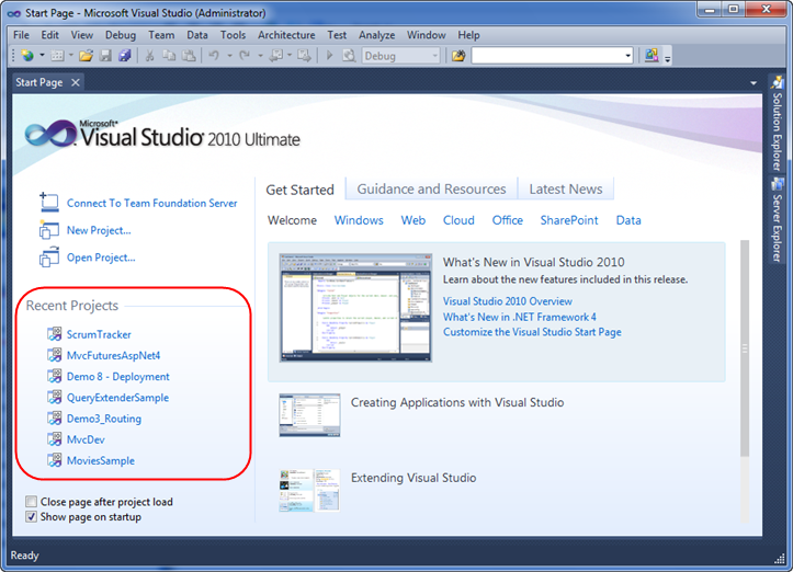 ScottGu's Blog - Pinning Projects and Solutions with Visual Studio 2010