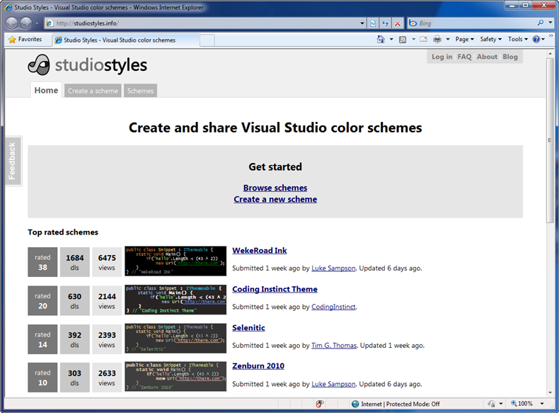 Download and Share Visual Studio Color Schemes