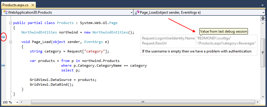 image thumb 66E337BF See the Value from Last Debug Session   DataTips in Visual Studio 2010