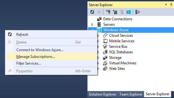 Windows Azure y Server Explorer