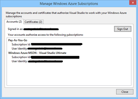 Manage Windows Azure Suscriptions