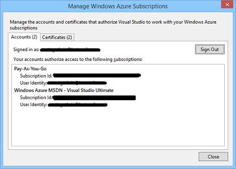 Manage Windows Azure Suscriptions