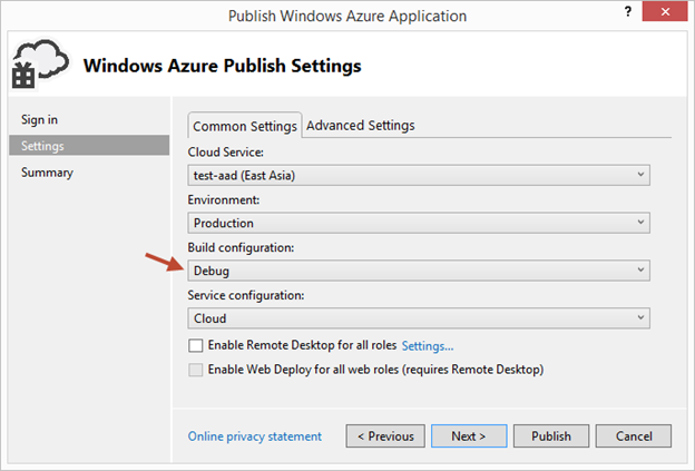 Debuggin remoto Windows Azure Cloud Service