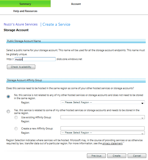 Figure 1.2 - Create Storage Account - Name the Blob Storage Account