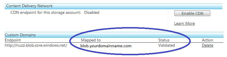 Figure 3.0 - Validate Domain CName Record and Domain Name Association