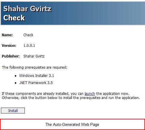 Shahar Gvirtz's Weblog - How-To: Use ClickOnce to deploy