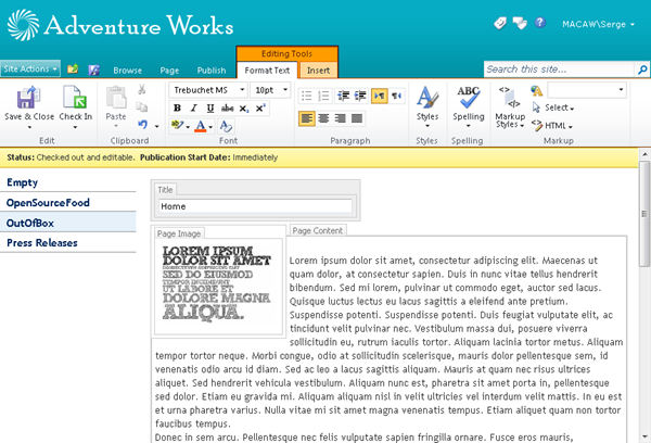 A SharePoint Publishing page in edit mode