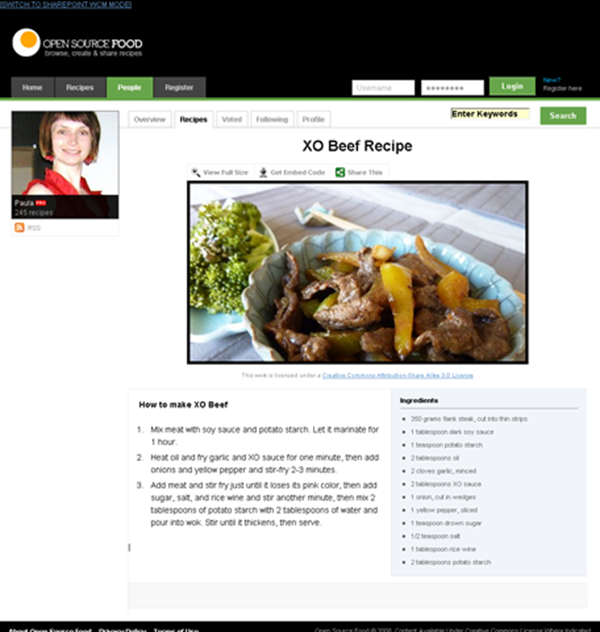 OpenSourceFood sample, SharePoint Publishing View Mode