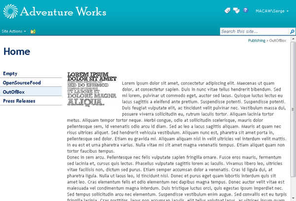 A SharePoint Publishing page in display mode