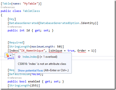Index is not an attribute class – Error while migrating from ASP.Net MVC 5 to .Net Core