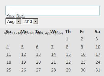Raju's Blog - jQuery UI Date picker Popup Calendar in MVC application
